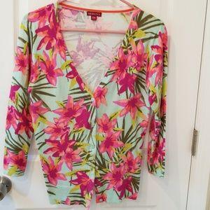 Tropical Print Cardigan Sweater